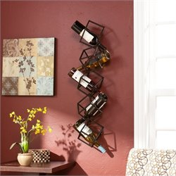 Southern Enterprises Vallejo Wall Mount Wine Storage Unit in Brushed Metal