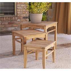Southern Enterprises Set of 3 Nesting Table in Light Brown