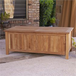 Southern Enterprises Patio Storage Bench in Natural Teak