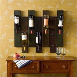 Southern Enterprises Santa Cruz Wall Mount Wine Rack in Distressed Earth Tone