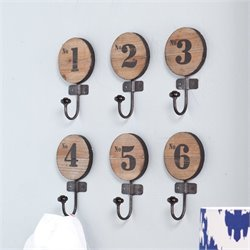 Southern Enterprises Decorative 6 Piece Wooden Numbered Hook Set