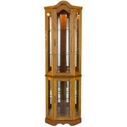 Southern Enterprises Riley Lighted Corner Curio Cabinet in Golden Oak