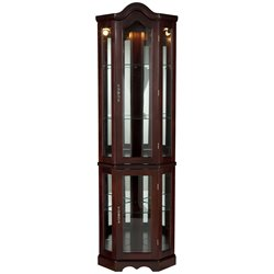 Southern Enterprises Mahogany Lighted Corner Curio Cabinet