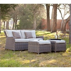 Southern Enterprises Avadi 3 Piece Outdoor Sofa Set in Gray Beige