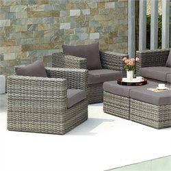 Southern Enterprises Bristow 4 Piece Outdoor Sofa Set in Gray
