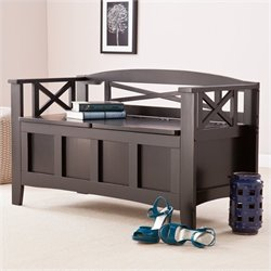 Southern Enterprises Branson Storage Bench in Painted Black