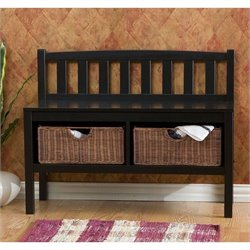 Southern Enterprises Satin Black Bench with 2 Brown Rattan Baskets