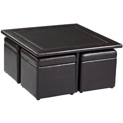 Southern Enterprises Storage Table Set in Dark Chocolate Faux Leather