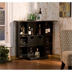 Southern Enterprises Archer Fold-Away Home Bar in Black