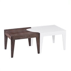Southern Enterprises Alack Split Cocktail Table in White and Burnt Oak