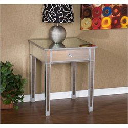 Southern Enterprises Montrose Painted Silver Wood Trim Mirrored Accent Table