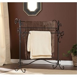 Southern Enterprises Bolton Iron Blanket Rack in Black with Bronze Rubthrough