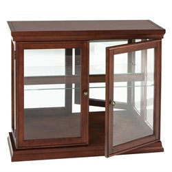 Southern Enterprises Mahogany Curio Console Table with Glass Doors