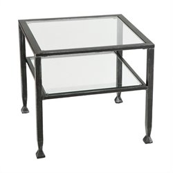 Southern Enterprises Black Coffee Table with Glass Top