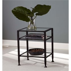 Southern Enterprises Metal Glass Top End Table in Black