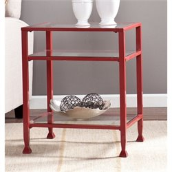 Southern Enterprises Glass Top Metal End Table in Red