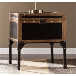 Southern Enterprises Drifton Travel Trunk End Table in Black