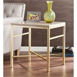 Southern Enterprises Orinda Metal End Table in Travertine