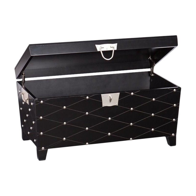 Southern Enterprises Nailhead Trunk Coffee Table In Black And Silver Ck6124