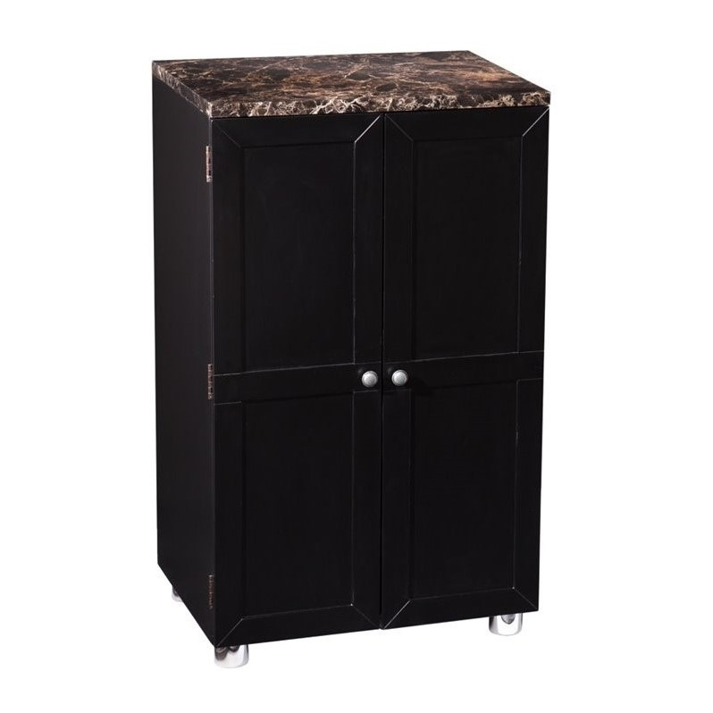 Southern enterprises cape town home bar cabinet in black for Kitchen tables cape town