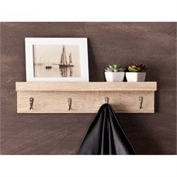 Southern Enterprises Argo Wall Mount Shelf and Coat Rack in Light Oak