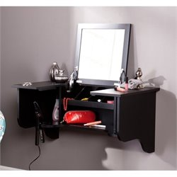 Southern Enterprises Wall Mount Ledge Vanity in Black