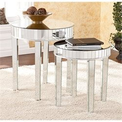 Southern Enterprises Round Mirrored Nesting Table in Silver