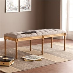 Southern Enterprises Makenna Upholstered Bench in Gray