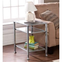 Southern Enterprises Metal-Glass End Table in Silver and Black