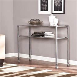 Southern Enterprises Metal-Glass Console Table in Silver and Black