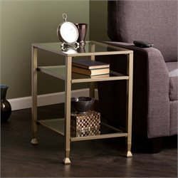 Southern Enterprises Metal-Glass End Table in Matte Gold