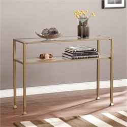 Southern Enterprises Metal-Glass Console Table in Matte Gold