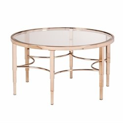 Southern Enterprises Thessaly Round Glass Coffee Table in Gold