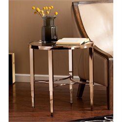 Southern Enterprises Thessaly Round End Table in Metallic Gold