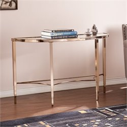 Southern Enterprises Thessaly Demilune Console Table in Metallic Gold