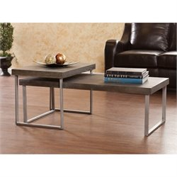 Southern Enterprises Nolan 2 Piece Nested Coffee Table in Burnt Oak