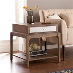 Southern Enterprises Arnold End Table with Drawer in Burnt Oak
