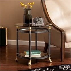 Southern Enterprises Allesandro Round Glass End Table in Gold