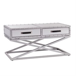 Southern Enterprises Lazio Industrial Mirrored Coffee Table in Silver