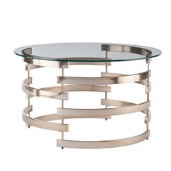 Southern Enterprises Belmar Round Coffee Table in Champagne