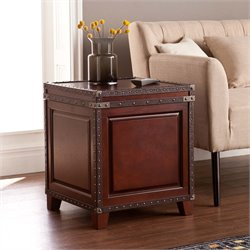 Southern Enterprises Amherst Storage Trunk End Table in Dark Cherry