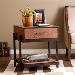 Southern Enterprises Palmetto End Table with Drawer in Espresso