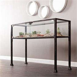 Southern Enterprises Terrarium Display Console in Black and Silver
