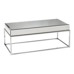 Southern Enterprises Dana Mirrored Coffee Table in Chrome