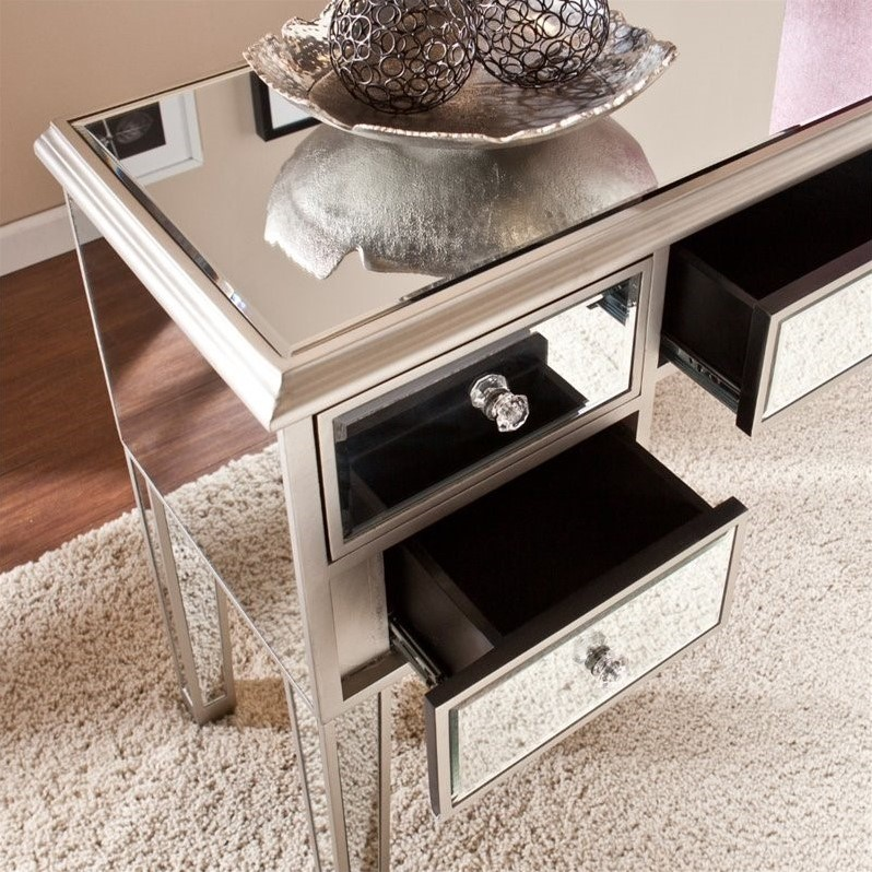 Southern Enterprises Mirage Mirrored Console Table In