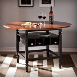 Southern Enterprises Victoria Round Dining Table in Black and Mahogany