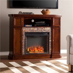 Hillcrest Electric Fireplace TV Stand in Brown