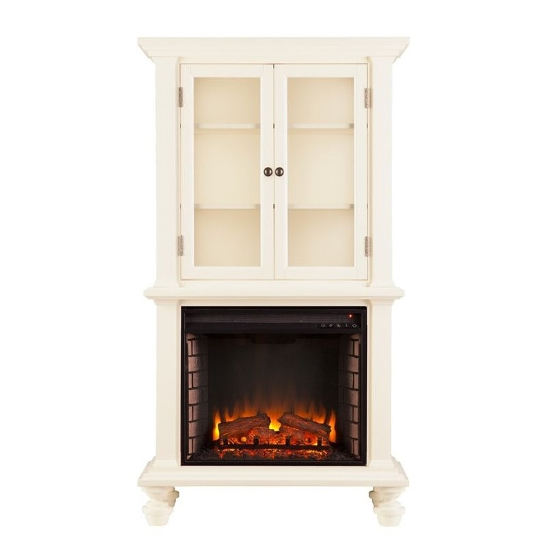 Southern Enterprises Townsend Electric Fireplace Bookcase In White Fe9828