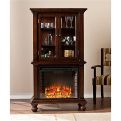 Townsend Electric Fireplace Curio in Espresso