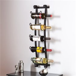 Southern Enterprises Ancona Wall Mount Wine Rack in Wrought Iron